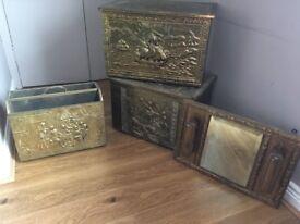 Brass storage boxes, mirror, magazine rack items