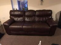 3 Seater Brown Leather Sofa + Armchair