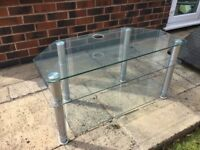 Glass tv stand 100 cms wide