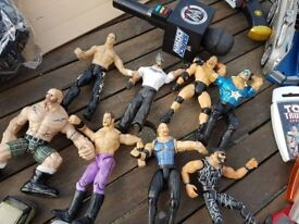 joblot wwe figures and wwe microphone from early 1990's+