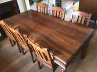 Solid Wood Dining Table and x6 Chairs