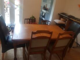 Free Solid Wooden Table and 6 Solid Chairs