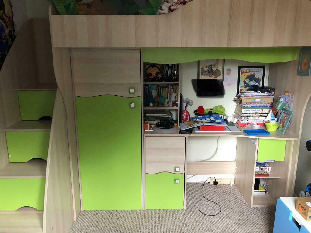 High sleeper cabin bed with storage, desk, wardrobe. Local ...