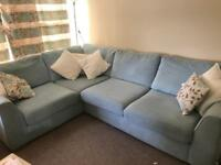 Light blue corner sofa