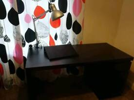 Desk with light and book stand
