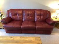 3 piece, reclining, leather suite - Burgundy Red