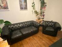 Chesterfield sofa (3 seats) and armchair