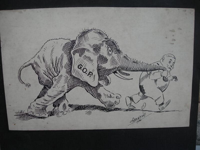 1926 Pen & Ink Cartoon - Republican - Taft & Elephant