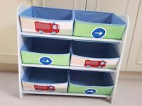 Kids Bedroom Toy Storage Unit with 6 Boxes - Immaculate condition £20 ono