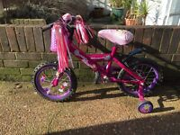 """Gorgeous childrens bike 14"""" barely used tyres like new"""
