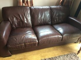Brown leather sofas for sale. one 3 seater, one 2 seater £75 ono