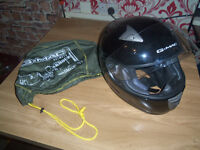 G-MAC as new full face crash helmet with clear viser and helmet bag worn once from new