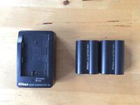 Nikon quick charger plus two battery packs for Nikon D50 D80 D80S D90 D100 D200 D300 D700