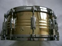 "Pearl 4914 Jupiter brass snare drum 14 x 6 1/2"" - '70s - Japan - Ludwig Supersensitive homage"