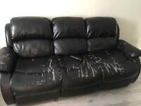 Free to go 3 seater leather look recliner sofa.
