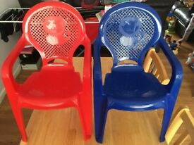 two plastic children's chairs