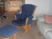 Blue Dutailer Glider Chair and Footstool