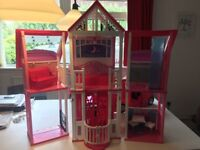 Barbie Dream House and Camper Van for sale including furniture