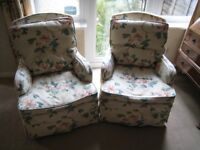 Two Armchairs - Ivory with Pink Floral Covering