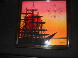 Vintage Shadow Box wall clock tall sailing ship sunset nautical