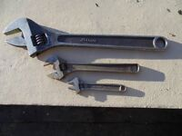 3 Adjustable Spanners 150mm, 250mm, 450mm.