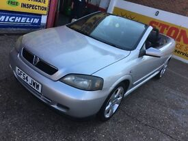 2004 VAUXHALL ASTRA 1.8 CONVERTIBLE SILVER BLACK LEATHERS LONG MOT HPI CLEAR