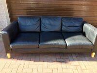 Karlanda 3 seater sofa in black leather