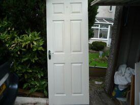 6 panel door ,nice chrome handles