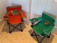 2 x Fun Children's Folding Chairs - Animal Design.