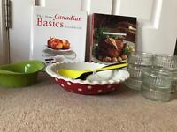Kitchen bundle NEW pie dish, apple cutter, ramekins, salad spoon & 2 cookery books