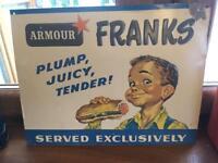 "Mid-Century Original ""Embossed"" Metal Hot Dog sign. Franks ""Armour"""