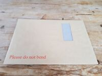 Board-Backed A4 WINDOW Envelopes 115gsm Brown plain peel and seal - 250 pieces