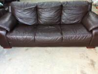 Dark brown leather sofas 3seater and 2