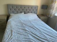 King size grey bedframe with under bed storage