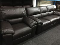 New/Ex Display LazyBoy Brown Leather Recliner Chair + 3 Seater Leather Sofa