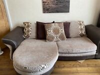 Sofa with chaise and matching loveseat