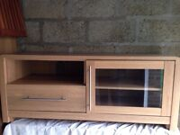 LONG,LOW DISPLAY CABINET WITH DRAWER, SHELF AND GLASS FRONTED CUPBOARD IN LIGHT WOOD VENEER