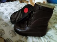 Fit Flop, brown leather, Mukluk boots, size 6.