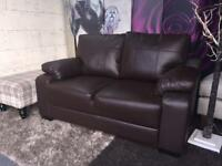 New Saskia 2 Seater Compact Leather Sofa In Chocolate Brown