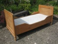 Rustic / country style pine single bed (dismantled) with sprung mattress
