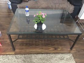 Glaas table metal frame in goos condition collection only