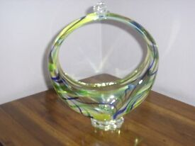 Glass ornament of unusual design and colours.