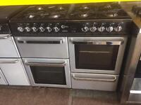Black & silver flavel 100cm dual fuel cooker grill & double fan oven good condition with guarantee