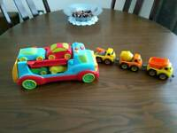 Toy car transporter and magnetic cars