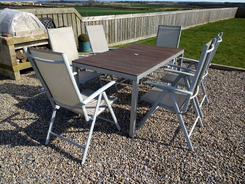 Outdoor Garden Furniture Silver Grey Metal And Wood Slat Table With 6 Chairs Parasol