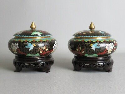 Precious Pair of Vases Potiche Chinese Technical Cloisonne' on base Wood Xx Sec