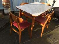 VINTAGE RETRO MID CENTURY 1950S DANISH INSPIRED FORMICA TABLE & 4 BEECH RED VINYL CHAIRS