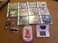 Nintendo DS (Pink), 15 games, cover and case