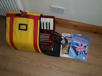WORLDMASTER ACCORDION - 26 KEY - 32 BASE KEYS WITH CARRY CASE AND TUITION BOOKS