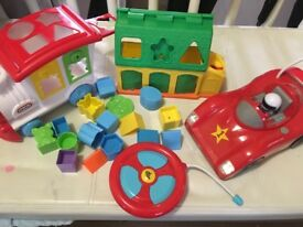 Remote car and shape sorter